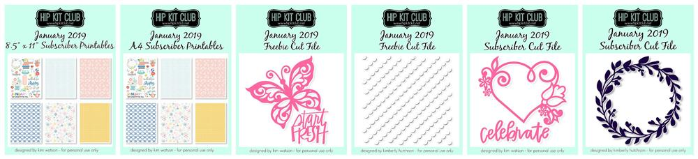 January 2019 Hip Kit Club Free SVG Cut Files and Printables